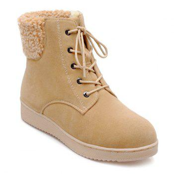 Suede Lace-Up Faux Shearling Snow Boots - APRICOT APRICOT