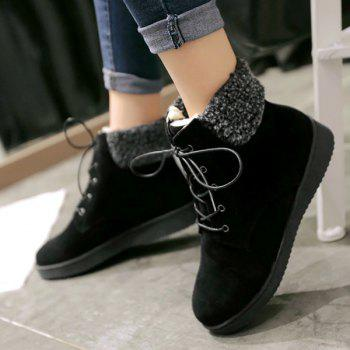 Suede Lace-Up Faux Shearling Snow Boots - BLACK BLACK