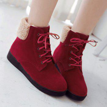 Suede Lace-Up Faux Shearling Snow Boots