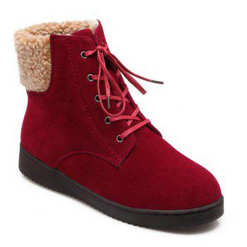 Suede Lace-Up Faux Shearling Snow Boots - WINE RED WINE RED