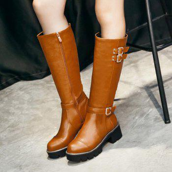Chunky Heel Buckles Embellished Mid-Calf Boots - BROWN BROWN