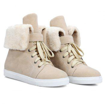 Casual Lace-Up Fold Down Short Boots - APRICOT APRICOT