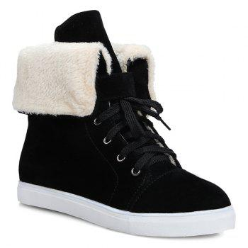 Casual Lace-Up Fold Down Short Boots - BLACK BLACK
