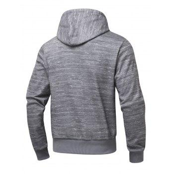 Long Sleeve Zipper Pocket Marled Hoodie - GRAY GRAY