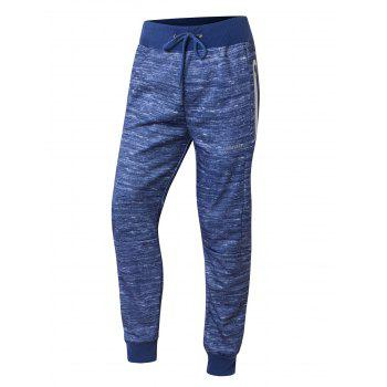Zipper Pocket Design Drawstring Waist Jogger Pants - BLUE BLUE