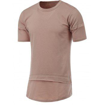 Side Slit Splicing Design Round Neck Short Sleeve T-Shirt