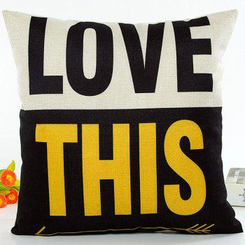 Love This Words Color Block Jointing Pattern Sofa Pillow Case