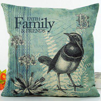 Flower Bird Family Letter Digital Printing Pillow Case