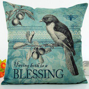 Vintage Bird Blessing Letter Tree Digital Printing Pillow Case