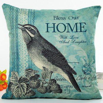 Bird On Strawberry Home Proverb Digital Printing Pillow Case