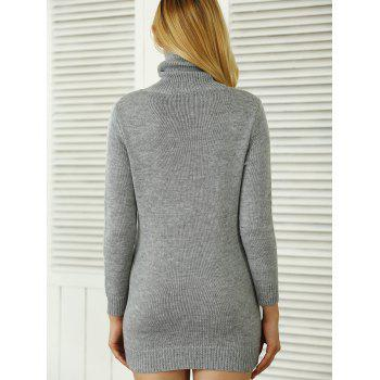 Côtelé uni Sweater Dress - Gris ONE SIZE