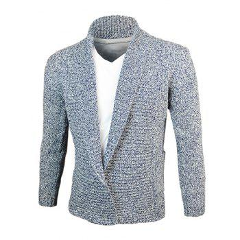 Woolen Yarn Turn-Down Collar Knit Blends Cardigan - CADETBLUE CADETBLUE