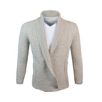 Woolen Yarn Turn-Down Collar Knit Blends Cardigan