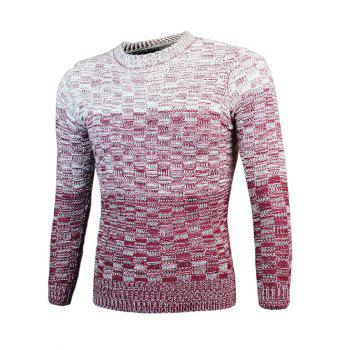 Knit Blends Round Neck Long Sleeve Ombre Sweater