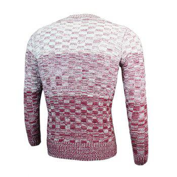 Knit Blends Round Neck Long Sleeve Ombre Sweater - WINE RED WINE RED