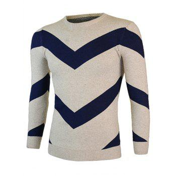 Color Block Round Neck Long Sleeve Waviness Sweater - M M