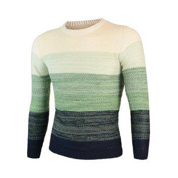 Knitting Round Neck Long Sleeve Ombre Sweater - GREEN GREEN