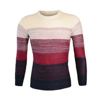 Knitting Round Neck Long Sleeve Ombre Sweater - WINE RED M