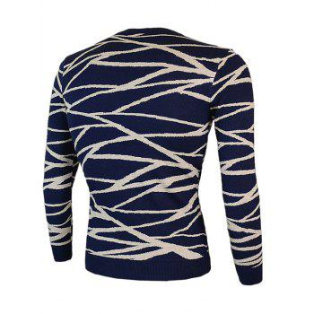 Round Neck Irregular Linellae Long Sleeve Sweater - CADETBLUE L