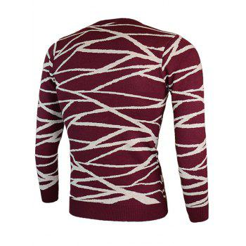 Round Neck Irregular Linellae Long Sleeve Sweater - WINE RED M