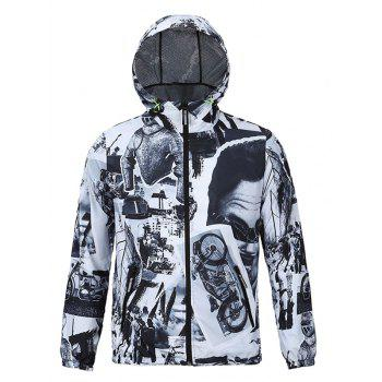 3D Vintage Pattern Spliced Print Hooded Zip-Up Jacket