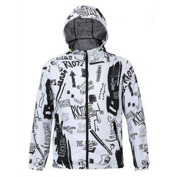 3D Scrawl Print Hooded Zip-Up Jacket