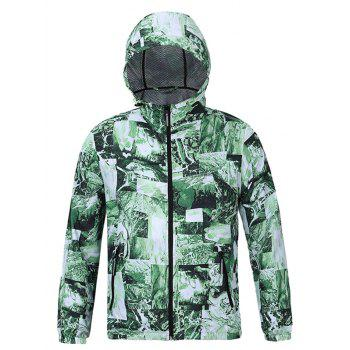 3D Abstract Pattern Spliced Print Hooded Zip-Up Jacket