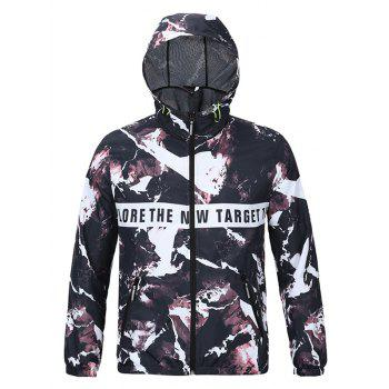 3D Magma and Letters Print Hooded Zip-Up Jacket