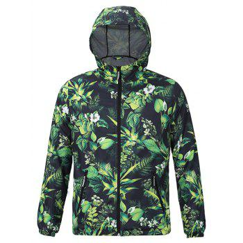 3D Leaves and Flowers Print Hooded Zip-Up Jacket