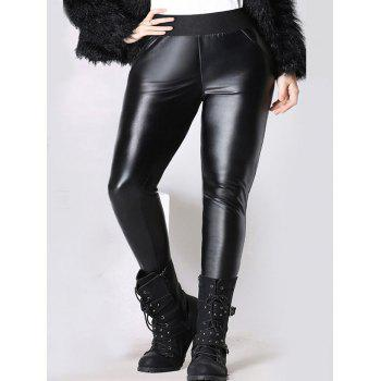 Elastic Waist Thicken Slim Faux Leather Pants