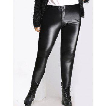 Plus Size High Waist Skinny PU Pants