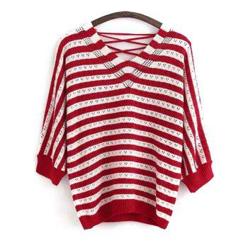 V Neck Back Lace Up Long Sleeve Striped Sweater