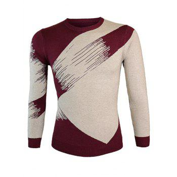 Round Neck Color Block Splicing Long Sleeve Sweater - WINE RED M