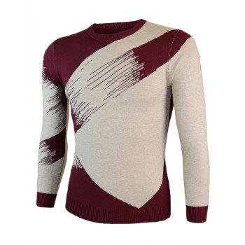 Round Neck Color Block Splicing Long Sleeve Sweater - M M