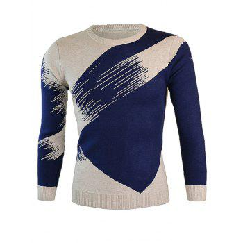 Round Neck Color Block Splicing Long Sleeve Sweater - CADETBLUE M
