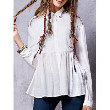 Embroidered Linen Blend Shirt