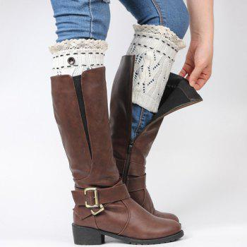 Buy Pair Button Lace Edge Hollow Leaf Knitted Boot Cuffs WHITE