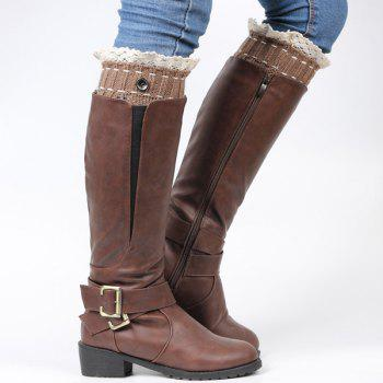 Pair of Button Lace Edge Hollow Out Leaf Knitted Boot Cuffs - COFFEE COFFEE
