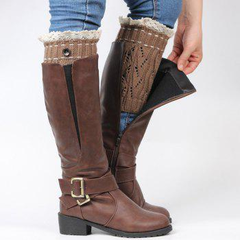 Pair of Button Lace Edge Hollow Out Leaf Knitted Boot Cuffs -  COFFEE