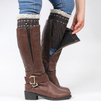 Pair of Button Lace Edge Hollow Out Leaf Knitted Boot Cuffs -  BLACK GREY