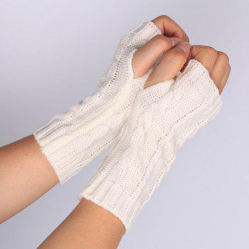 Pair of Hemp Flowers Crochet Knitted Fingerless Gloves - WHITE