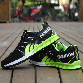 Lace-Up Color Block Letter Pattern Athletic Shoes - BLACK/GREEN BLACK/GREEN