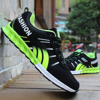 Lace-Up Color Block Letter Pattern Athletic Shoes - BLACK AND GREEN BLACK/GREEN