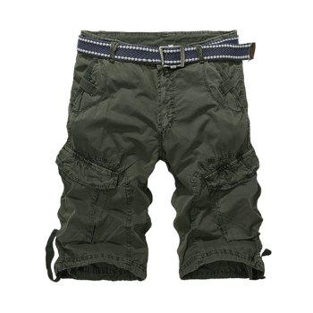 Buy Zipper Fly Knee Length Multi-Pocket Cargo Shorts ARMY GREEN