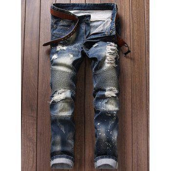 Broken Hole Ruched Design Moto Jeans - BLUE 28