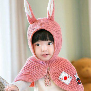 Warm Applique Patched Rabbit Ear Knitted Hooded Scarf