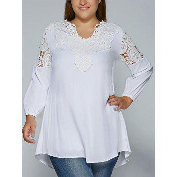 Plus Size Crochet Lace Splicing Blouse