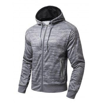 Long Sleeve Zipper-Up Marled Hoodie - GRAY GRAY