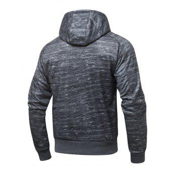 Long Sleeve Zipper-Up Marled Hoodie - DEEP GRAY DEEP GRAY