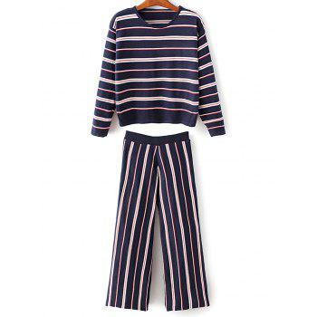 Round Neck Stripes Knitwear With Pants
